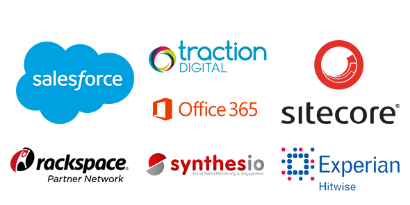 Partner logos: Salesforce, Traction Digital, Office 365, Sitecore, Rackspace, Synthesio, Experian Hitwise